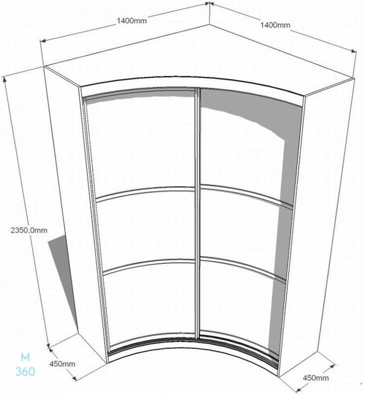 Радиусный вогнутый шкаф на заказ Арт 6