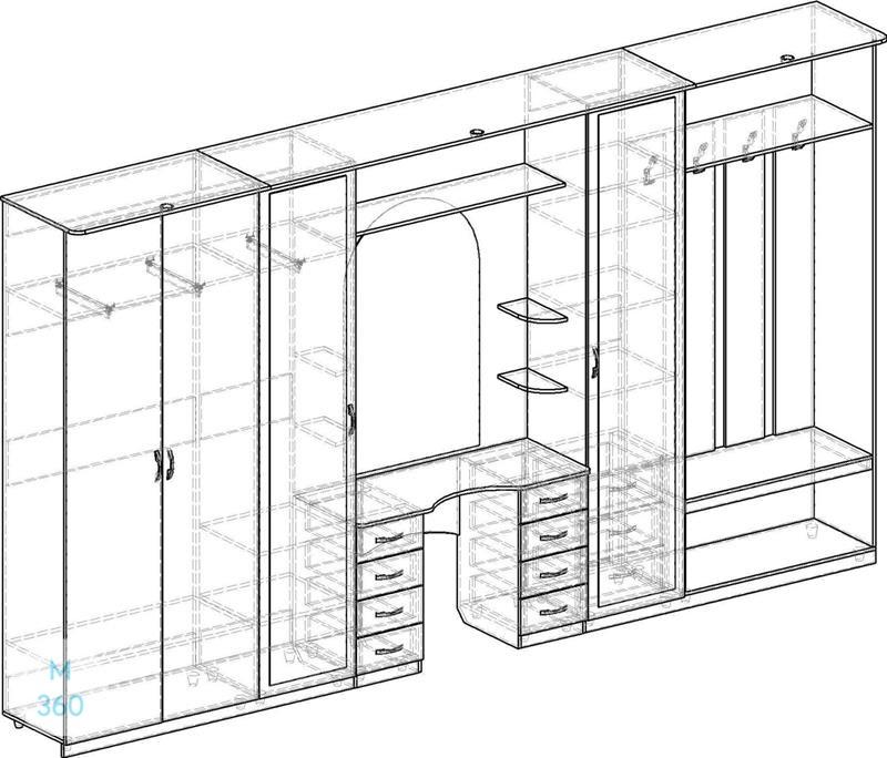 Элитный распашной шкаф на заказ Арт 11