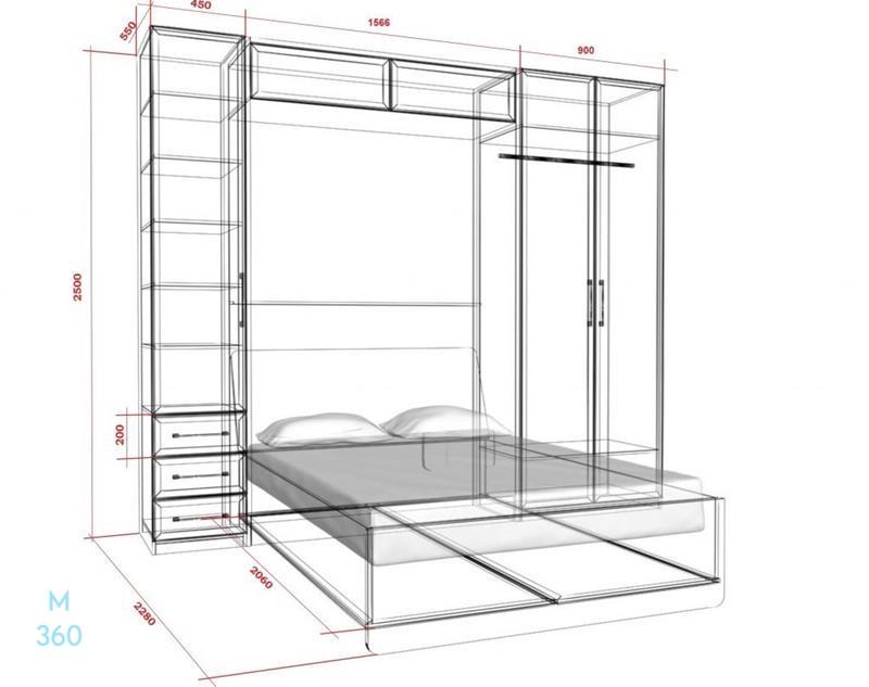 Откидная горизонтальная кровать на заказ Арт 4